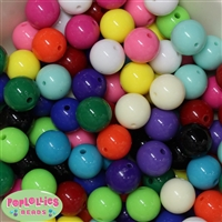 16mm Assorted Color Solid Acrylic Beads 120pc