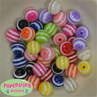 16mm Mixed Color Stripe Beads 40pc.