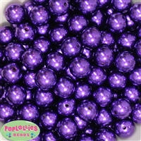 16mm Dark Purple Faux Acrylic Pearl Bubblegum Beads