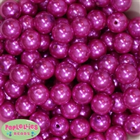 16mm Hot Pink Faux Pearl Acrylic Beads