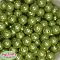 16mm Light Olive Green Pearl Beads