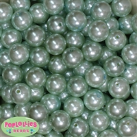 16mm Mint Faux Pearl Acrylic Beads