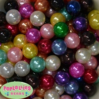 16mm Mixed Colors Faux Acrylic Pearl Bubblegum Beads Bulk