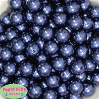 16mm Navy Blue Faux Acrylic Pearl Bubblegum Beads
