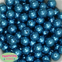 16mm Peacock Blue Faux Acrylic Pearl Bubblegum Beads