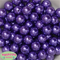 16mm Purple Faux Acrylic Pearl Bubblegum Beads