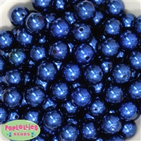 16mm Royal Blue Faux Pearl Acrylic Beads