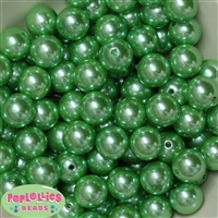 16mm Bulk Spring Green Faux Pearl Beads