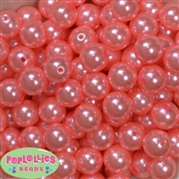 16mm Shell Pink Faux Acrylic Pearl Bubblegum Beads