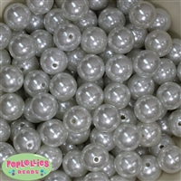 16mm White Faux Pearl Acrylic Beads