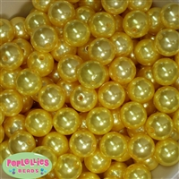 16mm Yellow Faux Acrylic Pearl Bubblegum Beads