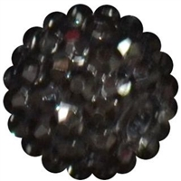16mm Metallic Black Rhinestone Bubblegum Beads