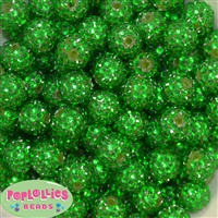16mm Christmas Green Rhinestone Beads 20pc