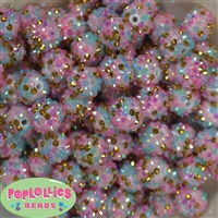 16mm Unicorn Confetti Rhinestone Beads 20 pack