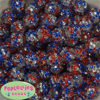 16mm USA Confetti Rhinestone Beads 20 pack