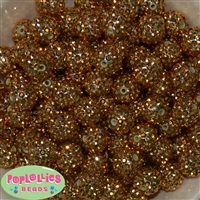 16mm Gold Metallic Rhinestone Beads 20 Pack
