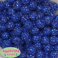16mm Royal Blue Rhinestone Beads 20 pack