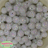 16mm White Rhinestone Beads 20 Pack