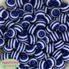 16mm Blue Stripe Resin Bubblegum Beads