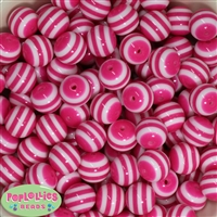 16mm Hot Pink Stripe Resin Bubblegum Beads