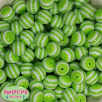 16mm Lime Green Stripe Beads