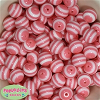 16mm Pink Stripe Beads