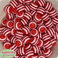16mm Red Stripe Beads
