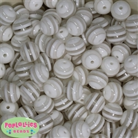 16mm White Stripe Beads