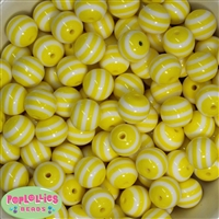 16mm Yellow  Stripe Resin Bubblegum Beads