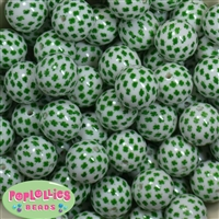 20mm Shamrock Print Pearl Bubblegum Bead