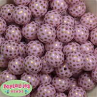 20mm Pink and Gold Bubblegum Beads