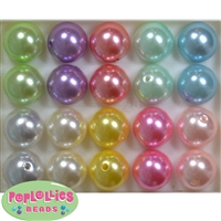 20mm Mix of Pastel Acrylic Pearl Bubblegum Beads