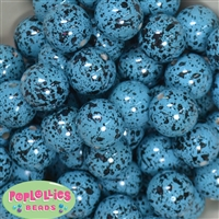 20mm Cyan Splatter Style Bubblegum Beads