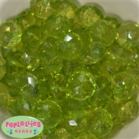 22mm Clear Lime Green Abacus Bubblegum Beads