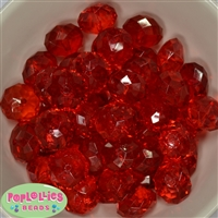 22mm Clear Red Abacus Beads