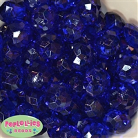 22mm Clear Royal Blue Abacus Bubblegum Beads