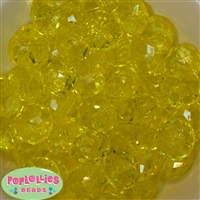 22mm Clear Yellow Abacus Bubblegum Beads