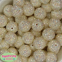 22mm Cream Rhinestone Bubblegum Beads