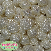 24mm Cream Pearl Finish Flower Beads
