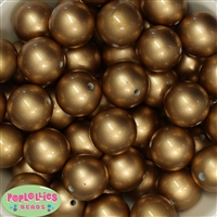 24mm Matte Gold Faux Pearl Bubblegum Beads Bulk