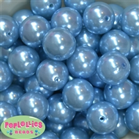 24mm Baby Blue Faux Pearl Bubblegum Beads Bulk