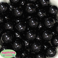 24mm Black Faux Pearl Bubblegum Beads Bulk