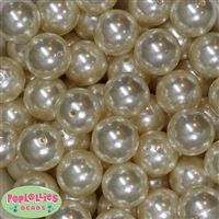 24mm White Faux Pearl Bubblegum Beads Bulk