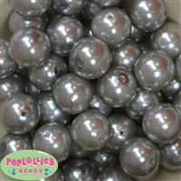 24mm Gray Acrylic Faux Pearl Bubblegum Beads Bulk