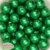 24mm Bulk Christmas Green Faux Pearl Beads