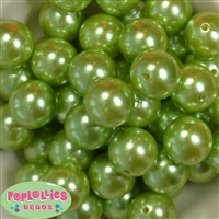 24mm Lime Green Faux Pearl Bubblegum Beads