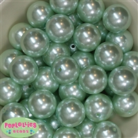 24mm Mint Faux Pearl Bubblegum Beads Bulk