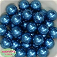 24mm Blue Faux Pearl Bubblegum Beads Bulk