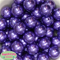 24mm Purple Faux Pearl Bubblegum Beads Bulk