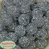 24mm Silver Rhinestone Bead 10pc